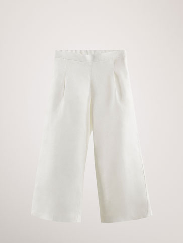 100% LINEN CULOTTE TROUSERS WITH DARTS