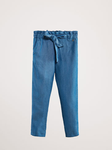 LYOCELL DENIM JOGGING TROUSERS WITH TIE DETAIL