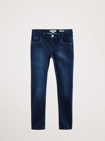 SLIM FIT RUFFLED COTTON JEANS