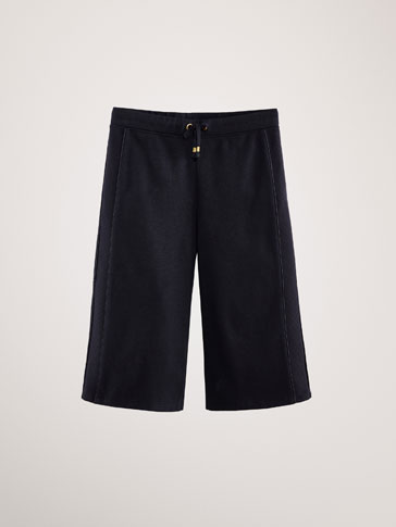 COTTON CULOTTES WITH SIDE TEXTURE