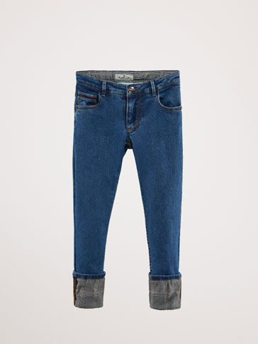 SLIM FIT JEANS WITH CHECK HEMS
