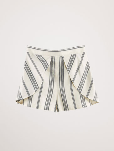 STRIPED BERMUDA SHORTS WITH FRONT DETAIL