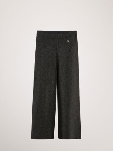 CULOTTE FIT COTTON/CASHMERE KNIT TROUSERS