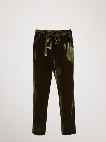 VELVET JOGGING FIT TROUSERS WITH TIE