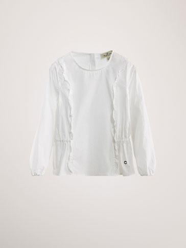 POPLIN BLOUSE WITH RUFFLE TRIMS