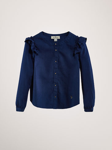 COTTON DENIM BLOUSE WITH RUFFLES