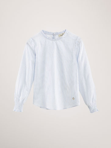 STRIPED RUFFLED COTTON BLOUSE