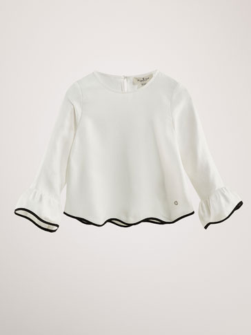 COTTON BLOUSE WITH CONTRAST PIPING