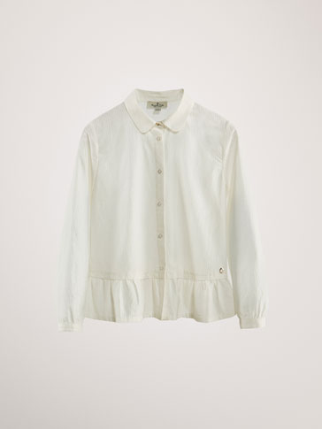 RUFFLED TEXTURED COTTON SHIRT