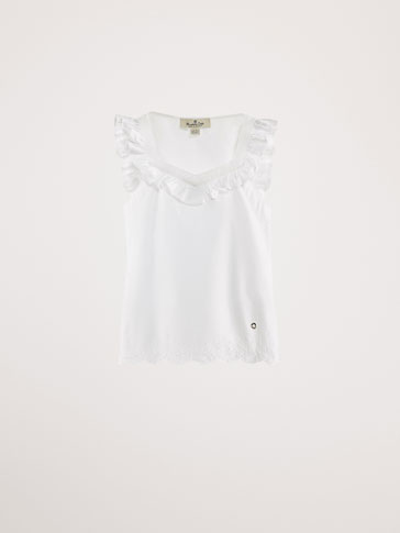 COTTON BLOUSE WITH EMBROIDERED DETAIL