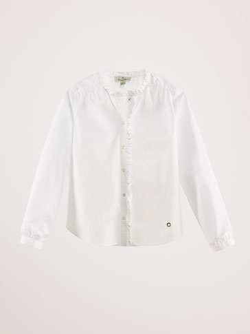 COTTON SHIRT WITH RUFFLED TRIMS