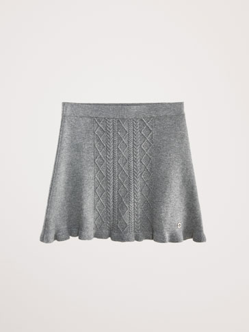 CABLE-KNIT COTTON/CASHMERE SKIRT
