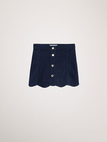 DENIM SKIRT WITH WAVY HEM