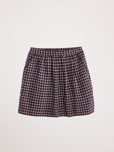 NAVY AND RED CHECK SKIRT