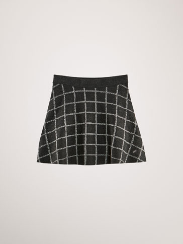 JUPE MAILLE CARREAUX