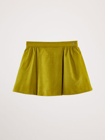 COTTON VELVET SKIRT WITH FRONT PLEAT