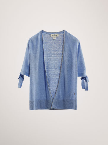 100% LINEN CARDIGAN WITH BOWS