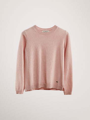 Sweater 100 Percents Cashemere Com Pormenor De Rendilhados by Massimo Dutti