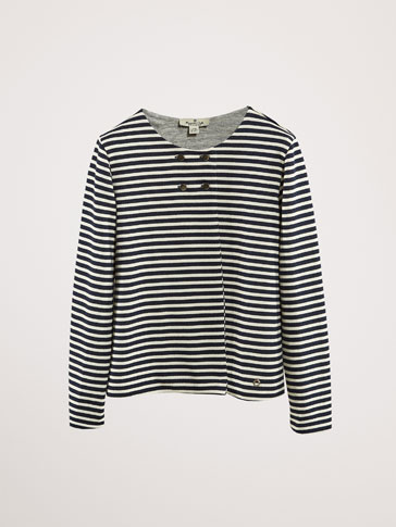 STRIPED DOUBLE-BREASTED COTTON CARDIGAN