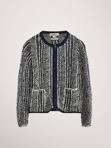 MULTICOLOURED TEXTURED CARDIGAN