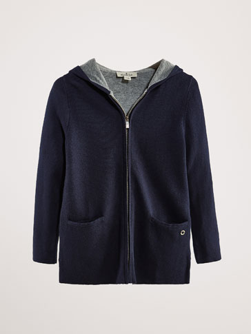 TWO-TONE COTTON/CASHMERE CARDIGAN