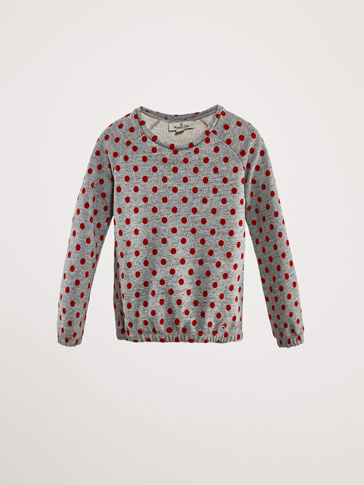 COTTON SWEATSHIRT WITH VELVET POLKA DOTS