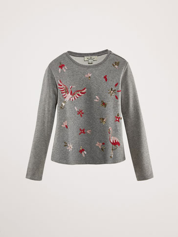 KATOENEN SWEATER MET PAILLETTEN