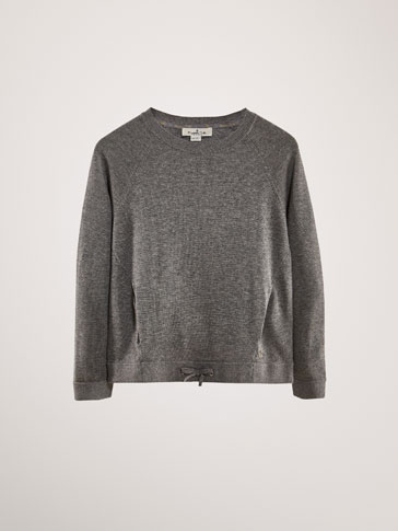COTTON SWEATSHIRT-STYLE SWEATER WITH BOW