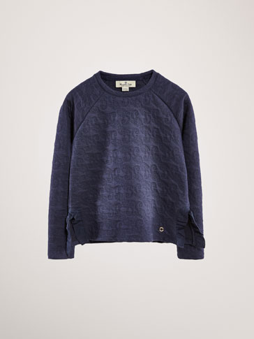 TEXTURED COTTON SWEATSHIRT WITH RUFFLES