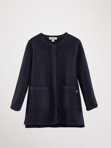 NAVY BLUE TEXTURED WOOL COAT
