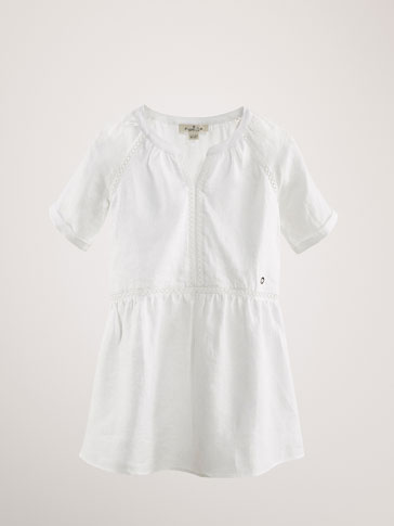 100% LINEN DRESS WITH LACE TRIMS