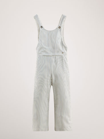 STRIPED DUNGAREES WITH CROSSOVER BACK
