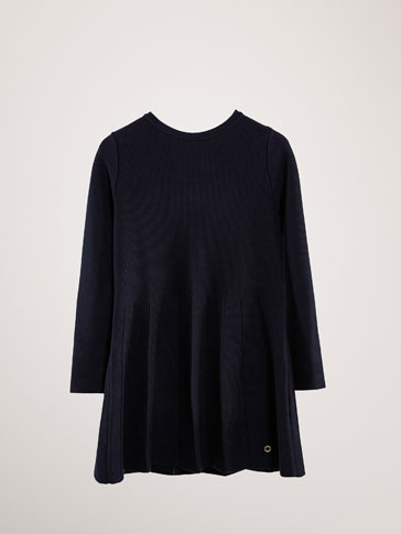 TEXTURED COTTON DRESS WITH PLEATS