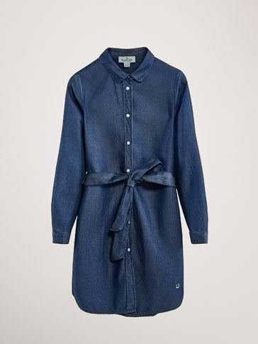 LYOCELL DENIM DRESS WITH TIE