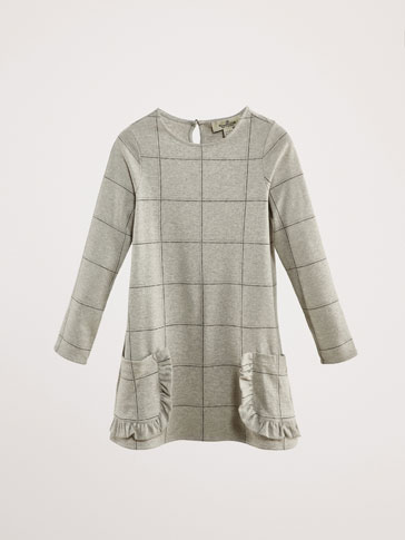 ROBE COTON CARREAUX VOLANT