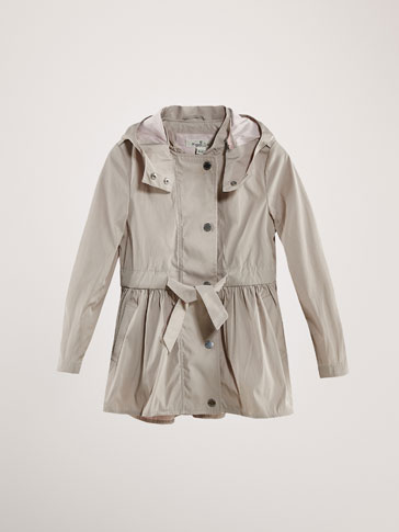 TWO-TONE TECHNICAL PARKA WITH TIE
