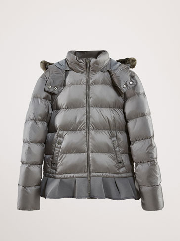 DOWN JACKET WITH CONTRAST HEM