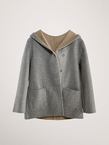 REVERSIBLE TWO-TONE WOOL COAT