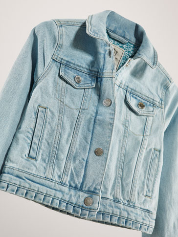 COTTON DENIM JACKET WITH PLEATS