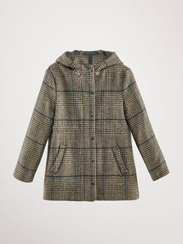 MANTEAU LAINE À CARREAUX