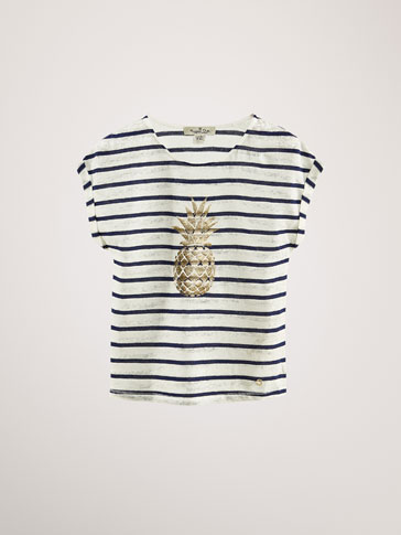 STRIPED LINEN/COTTON T-SHIRT WITH PINEAPPLE DETAIL