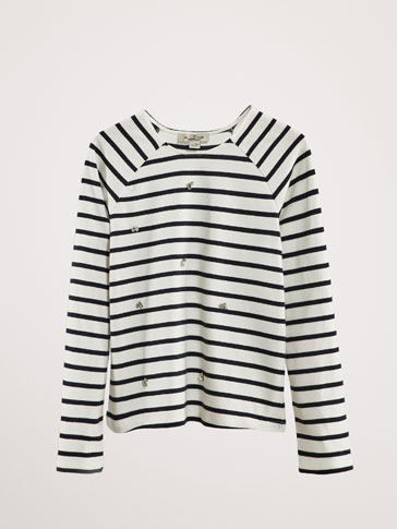 BEJEWELLED STRIPED COTTON T-SHIRT
