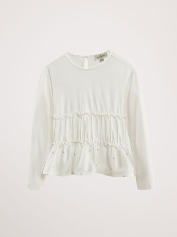 COTTON T-SHIRT WITH RUFFLES AND STARS