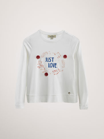 COTTON 'LOVE LEAVES' T-SHIRT