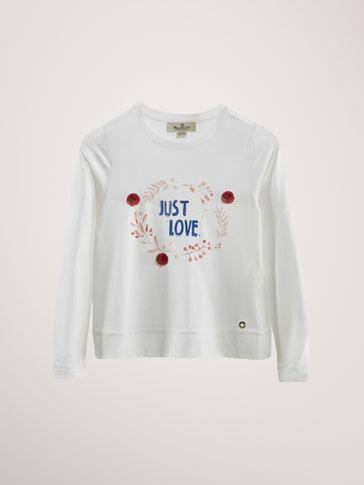 COTTON 'LOVE LEAVES' T-SHIRT