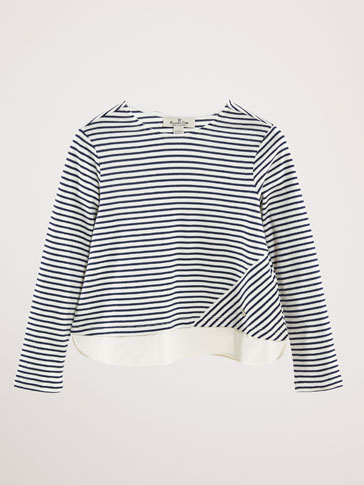 STRIPED COTTON T-SHIRT WITH CONTRAST HEM