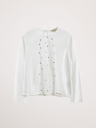 EMBROIDERED POLKA DOT COTTON T-SHIRT