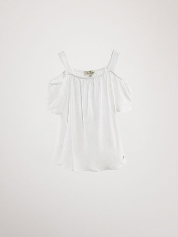 LINEN T-SHIRT WITH SHOULDER DETAIL