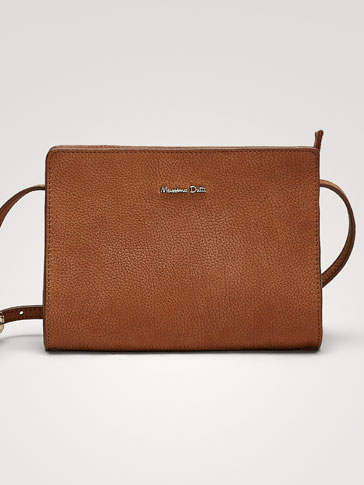LEATHER CROSSBODY BAG WITH NUBUCK FINISH