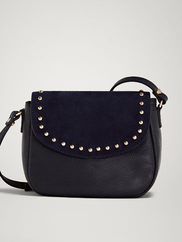 CONTRAST LEATHER HANDBAG WITH STUDS